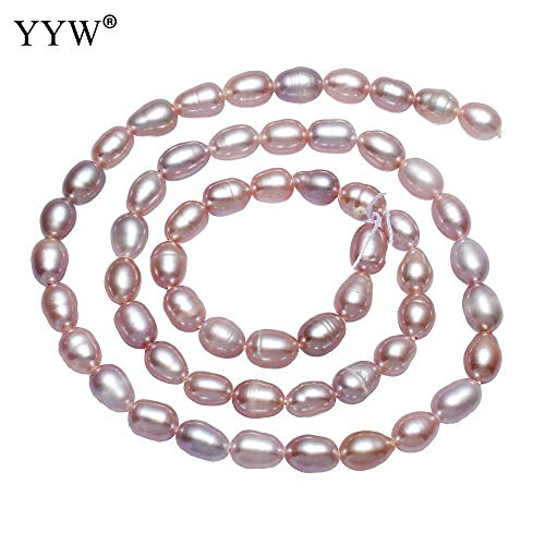 "Calvas Natural Freshwater Pearl Beads for DIY Necklace Bracelets Jewelry Making Pink Rice Baroque Beads Loose Beads Strand 15"" 5-6mm"