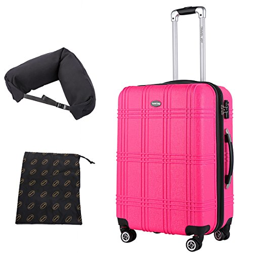 Hardside Carry On Luggage, Lightweight Expandable Spinner Carry Ons TSA Luggage Suitcase, 20 inches (HOT PINK-1) (Pink Hot Suitcase)