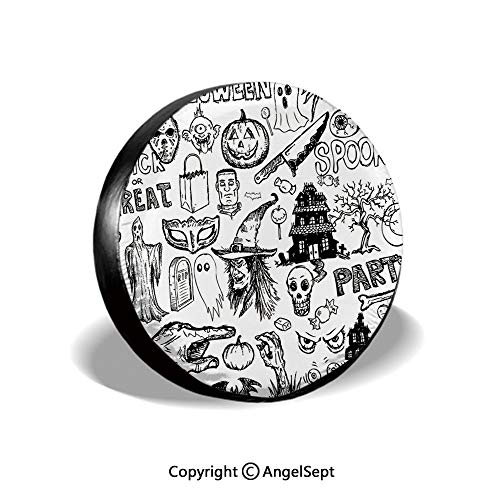 Spare Tire Cover,Hand Drawn Halloween Doodle Trick or Treat Knife Party Severed Hand Decorative,Black White,for Jeep Trailer SUV RV and Many Vehicles,14 Inch]()