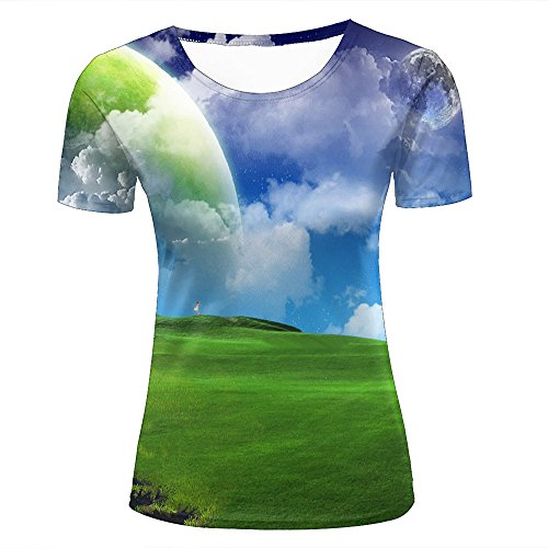 D Printed Casual Green Meadows and Blue Sky Summer Short Sleeve T-Shirts Couple Tees XXL (Meadow Green Display)