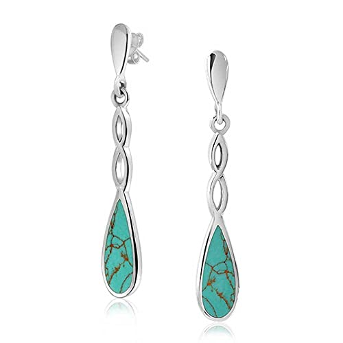 Infinity Spiral Twist Teardrop Blue Stabilized Turquoise Long Dangle Earrings For Women 925 Sterling Silver
