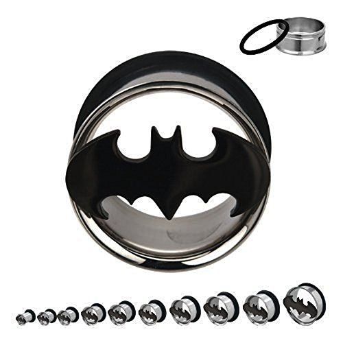 Batman Plugs / Gauges / Tunnels Single Flare with O-ring 316l Surgical Steel (2 Pieces) (0G - Gauge Flare Single 0