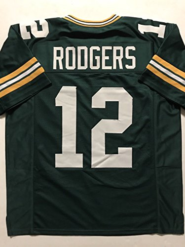 d09c24f6c59e5 Unsigned Aaron Rodgers Green Bay Green Custom Stitched Football ...