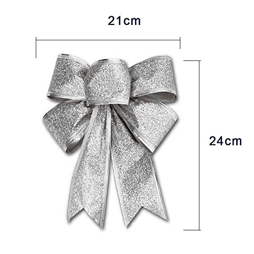 CHDHALTD 10 Pack Christmas Bow for Santa Decorations, Gifts & Presents Wrapping, Hanging Door Decor with Wire, Christmas Tree, Party Supply (Silver) by CHDHALTD (Image #3)