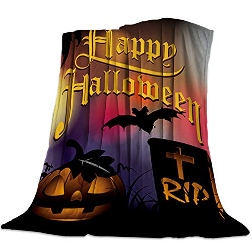 wanxinfu Decorative Throw Blanket for Living Roome/Office/Bedroom, Halloween Wild Pumpkin Tombstone Bat - Luxury Warm Soft Cozy Flannel Microfiber Lightweight Blanket for All Season, 49''W x 59''L ()