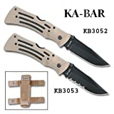 KABAR 2-3053-0 Desert Mule Folder Knife Serrated Black Blade Tan Nylon Sheath, Outdoor Stuffs