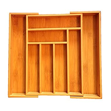 In Drawer Organizer-Bamboo Expandable Utility for kitchen, bathroom, office and cosmetics