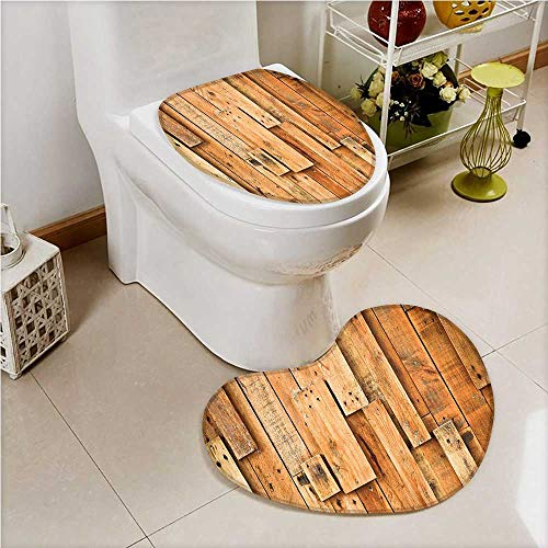 (2 Piece Shower Mat Set Wooden Lodge Style Teak Hardwood Wall Planks Print Design Artsy Amber Custom Made Heart Shaped Foot pad Set)