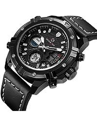 Mens Sport Digital Analog Watches Waterproof Black Leather Military Wrist Watch