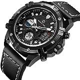 Tamlee Mens Sport Digital Analog Watches Waterproof Black Leather Military Wrist Watch