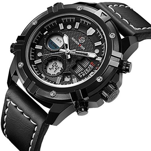 Diving Digital Analog (Tamlee Mens Sport Digital Analog Watches Waterproof Black Leather Military Wrist Watch)