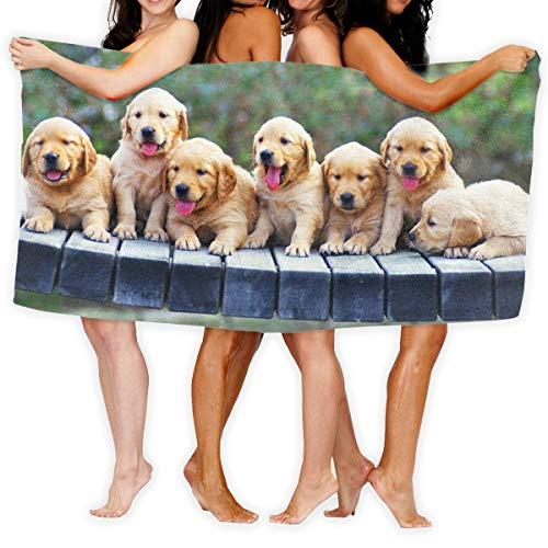 PengMing Funny Dog Golden Retriever Premium 100% Polyester Large Beach Towel, Suitable for Hotel, Swimming Pool, Gym, Beach, Natural, Soft, Quick Drying