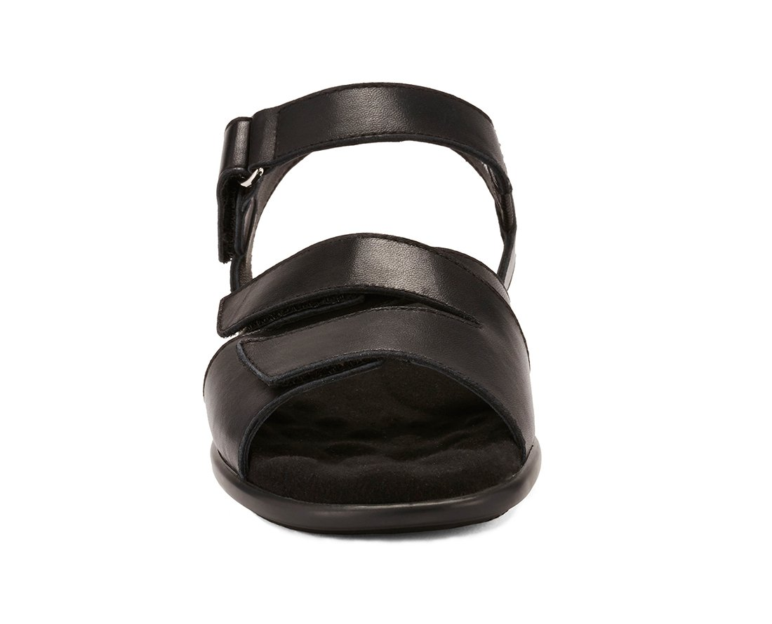 Walking Cradles W-103002 Sandrine Womens Leather 1' Heel Rubber B0796BBGHH Outsole Casual Flat Sandal B0796BBGHH Rubber 8.5 W US|Black b1683f