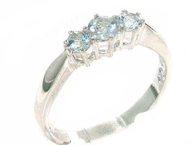 Solid Sterling Silver Natural Aquamarine Ladies Eternity Band Ring vpymeP