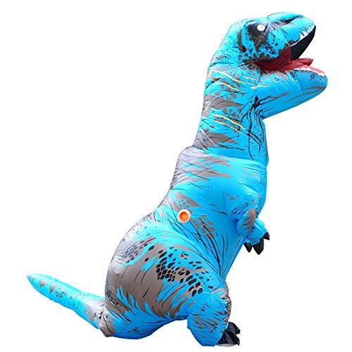 T-Rex Dinosaur Inflatable Costume Halloween Cosplay Blow up Outfit Fancy Dress with 2 Fan (Halloween Dress Costume)