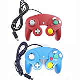 Bowink Ngc Classic Wired Shock Joypad Game Stick Pad Controller for Wii Gamecube NGC Gc Black (Red and Blue)