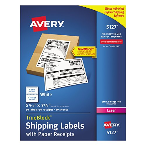 Avery Shipping Labels w/Paper Receipts and TrueBlock Technology for Laser Printers 5-1/16 x 7-5/8, Pack of 50 ()