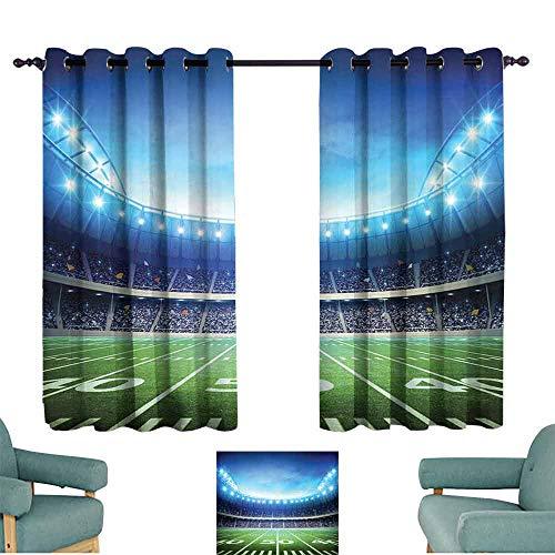 Mannwarehouse Football Bedroom Curtain Photo of American Stadium Green Grass Arena Playground Bleachers Event Match 70%-80% Light Shading, 2 Panels,72