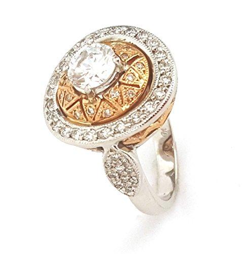 1.60CT DIAMOND SEMI MOUNT 14K TWO TONE GOLD EUROPEAN SQUARE BAND PAVE SETTING