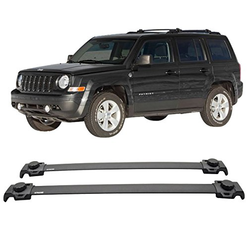 Cross Bars Fits 2007-2015 JEEP PATRIOT | OEM Style Aluminum Roof Top Bar Luggage Carrier by IKON MOTORSPORTS | 2008 2009 2010 2011 2012 2013 2014