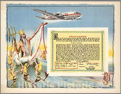 Airlines Pacific Canadian - Historic Map | Ephemera, Canadian Pacific Airlines Ephemera. Proclamation: Crossing the Equator. 1953 | Vintage Wall Art | 57in x 44in