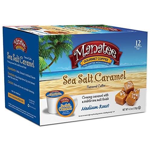 Manatee Single Cups for Keurig K-cup Brewers Sea Salt Caramel 12 Count Hot Beverage Cups, Compatible with Most Single-Serve Brewing Systems that Accept K-Cups, Including Keurig 2.0 (Maxwell Salt)