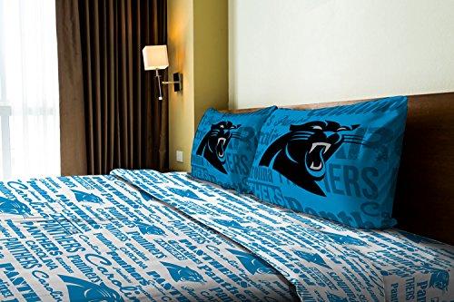 Carolina Panthers Twin Sheet Set - The Northwest Company Carolina Panthers OFFICIAL NFL Twin Sheet Set - Anthem Series
