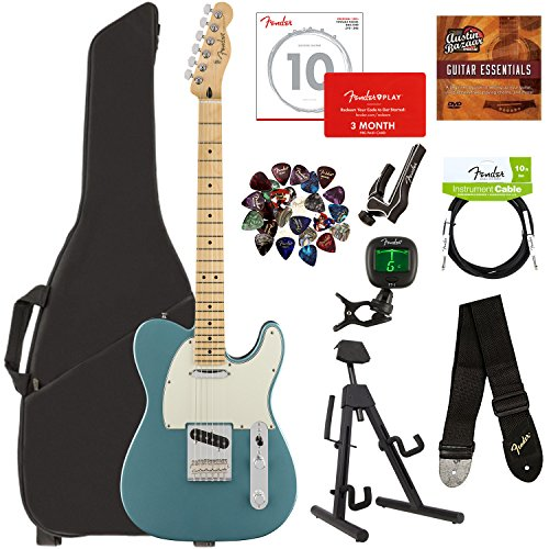 Fender Player Telecaster, Maple - Tidepool Bundle with Gig Bag, Stand, Cable, Tuner, Strap, Strings, Picks, Capo, Fender Play Online Lessons, and Austin Bazaar Instructional DVD (Maple Telecaster Neck With Tuners)