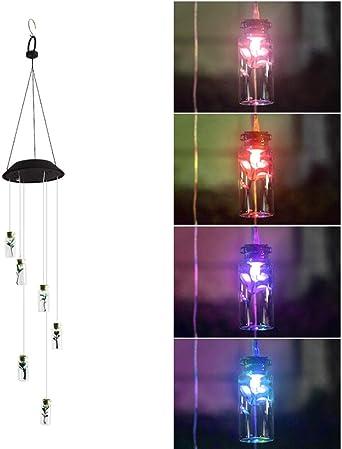 Luz de jardín solar Luz de campana de viento solar Botella de deseo Luces solares Luces LED Luces de jardín de color: Amazon.es: Iluminación