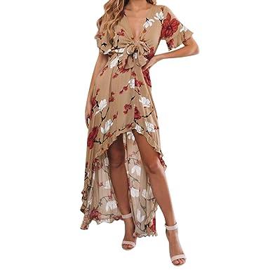 9d3476643e Big Sales, Anewoneson 2019 Women's Summer Short Sleeve V-Neck Floral Print  High Waist Cross Hem Sexy Beach Maxi Dress at Amazon Women's Clothing store: