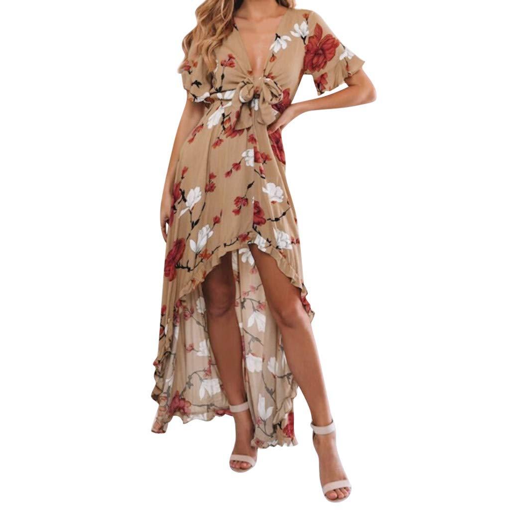 DMZing Women Fashion Casual Sexy Floral Print Long Dress Lady Resort Holiday Beach Irregular Sundress Summer