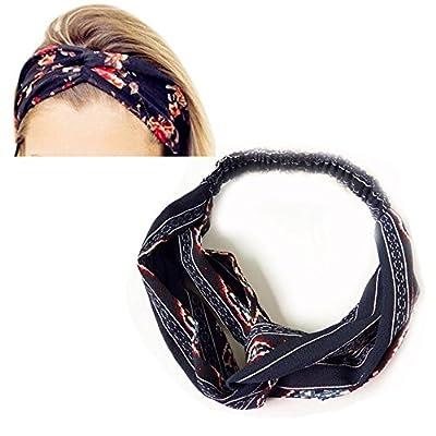 LZYMSZ Women's Headbands Floral Print Headwrap Twist Knot Hair Band Yoga Head Wraps Sports Elastic Turban