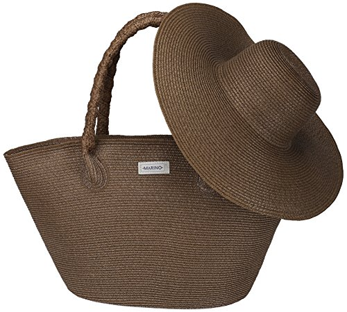 (Marino Best Beach Tote Bag and Suns Hat for Women - Floppy Straw Hat and Swimming Bag - Sun Protection Hat UPF 50+ - Brown - One Size )