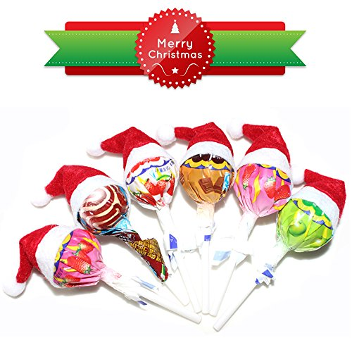 cute mini lollipop candy santa claus christmas hat decoration 6 pcs lollipop not included