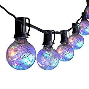 G40 LED String Lights – 25Ft Globe Patio String Lights with 25 Shatterproof LED Bulbs Multicolor Hanging Lights for…