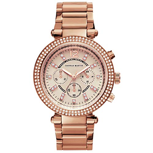 Fashion Watches for Women Diamond Decoration Stainless Steel Quartz Watch Dress for Ladies (Rose Gold)