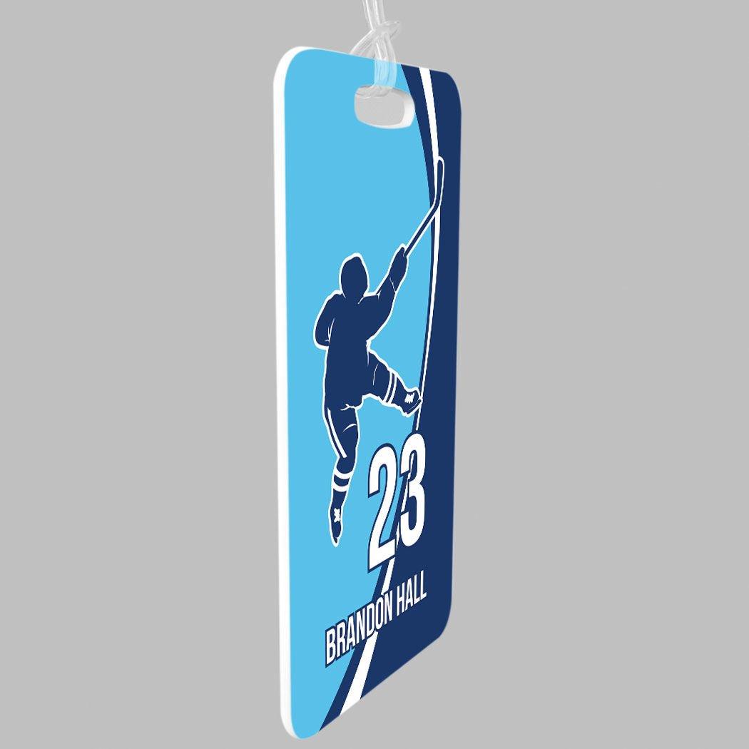 Standard Lines on Back Personalized Hockey Slap Shot SMALL Hockey Luggage /& Bag Tag RED//BLACK