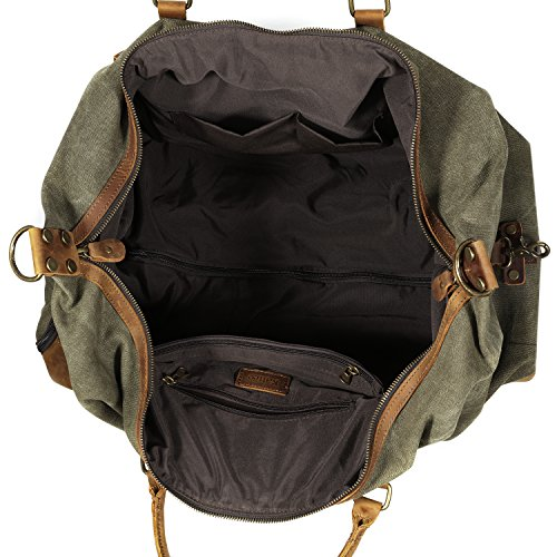 Kattee Luggage Rolling Duffel Bag Leather Trim Canvas Wheeled Carry-on Travel Bag 50L (Army Green) by Kattee (Image #4)