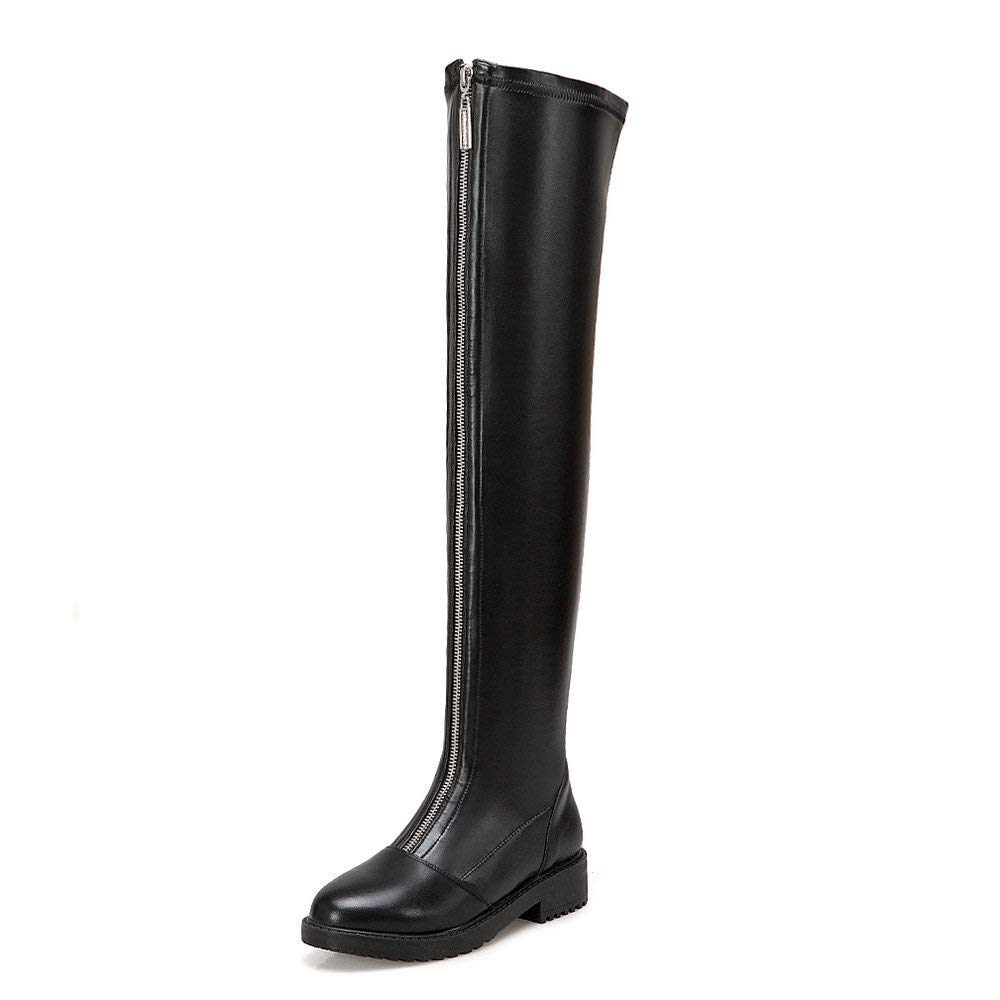Black AnMengXinLing Over The Knee Boot Women Front Zipper Block Low Heel Round Toe Comfy Stretch Leather Thigh High Booties