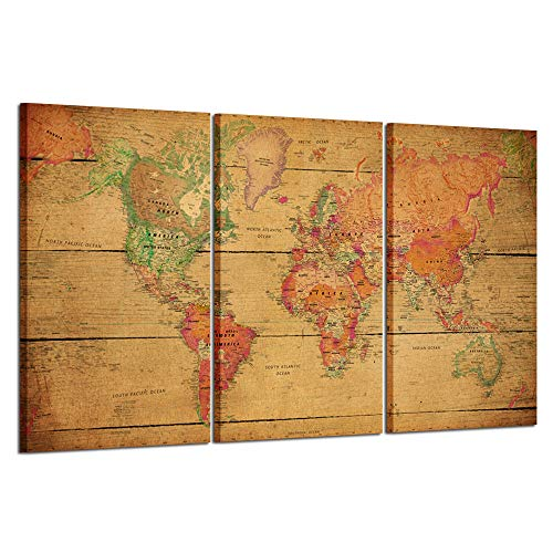 Kreative Arts - World MAP Canvas Art - Premium Canvas Art Print - Large Colorful Wall Art Deco - Canvas Picture Stretched on Wooden Frame As Modern Gallery Artwork (World Map Black And White High Resolution)