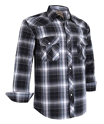 - Coevals Club Men's Long Sleeve Casual Western Plaid Buttons Shirt (L, 9#Gray,Black)