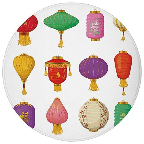 Round Rug Mat Carpet,Lantern,Chinese Celebration Asian Culture Far East New Year Cartoon Style Festival Tassels Decorative,Multicolor,Flannel Microfiber Non-slip Soft Absorbent,for Kitchen Floor Bathr ()