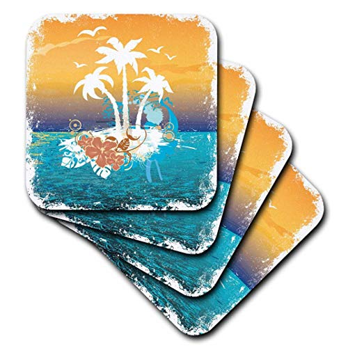 - 3dRose CST_152566_1 A Pretty Island Scene with Palm Trees and Tropical Flowersin Orange and Blue Soft Coasters, Set of 4
