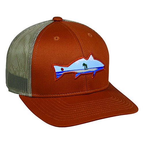 Redfin Tuna Charter Fishing Ocean Orange And Khaki Tan Cap Hat 224 One Size Fits Most