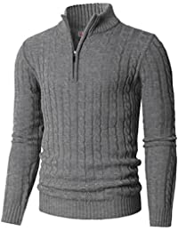 Mens Casual Slim Fit Mock Neck Zip up Basic Designed Pullover Sweater