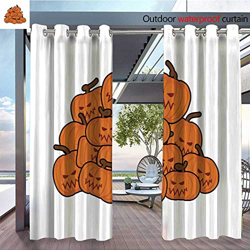 Exterior/Outside Curtains Pumpkins Pile for Halloween Lot of Vegetables for Holiday for Patio Light Block Heat Out Water Proof Drape W72 x L84/Pair ()