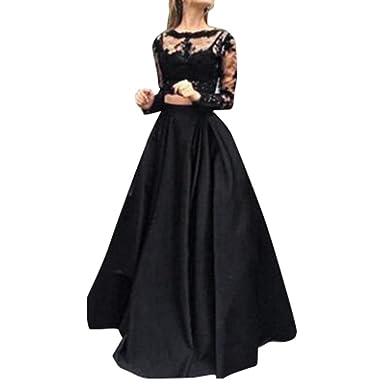 Set Hlhn Piece Dress TopMaxi Skirt Crop Lace Women two Long 80Nmnw