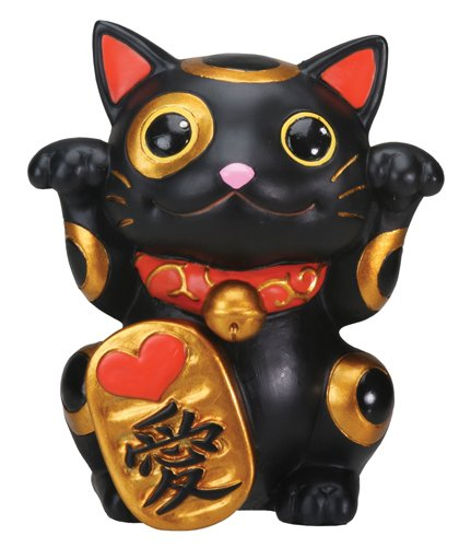 Black Maneki Neko Money Lucky Cat Chinese Japanese Statue -