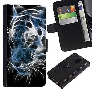 Paccase / Billetera de Cuero Caso del tirón Titular de la tarjeta Carcasa Funda para - Iridescent Tiger Black White Neon - Samsung Galaxy S5 V SM-G900