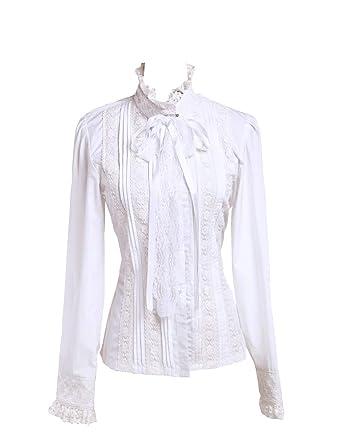 d789e4fc6f2732 Antaina Weiß Baumwolle Rüsche Spitze Stehkragen Lolita Luxuriös Hemd Bluse,  XS,MEHRWEG